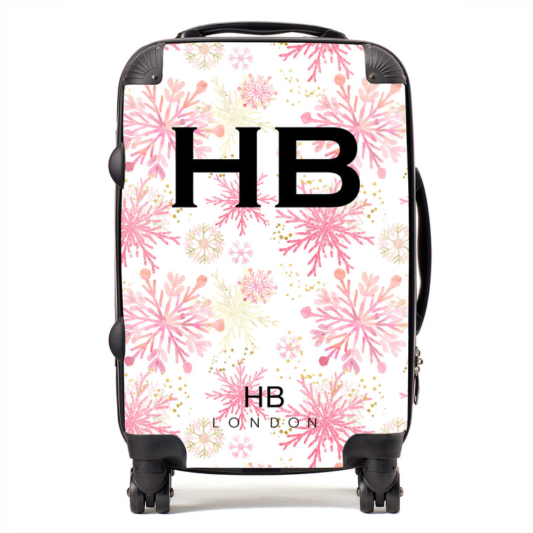 Personalised Pink and Gold Snowflake with Black Font Initial Suitcase