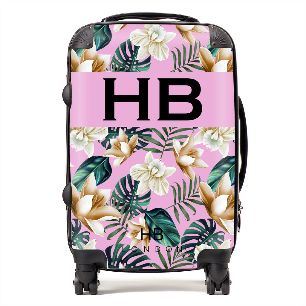Personalised Pink and Nude Tropical Flowers with Black Font Initial Suitcase