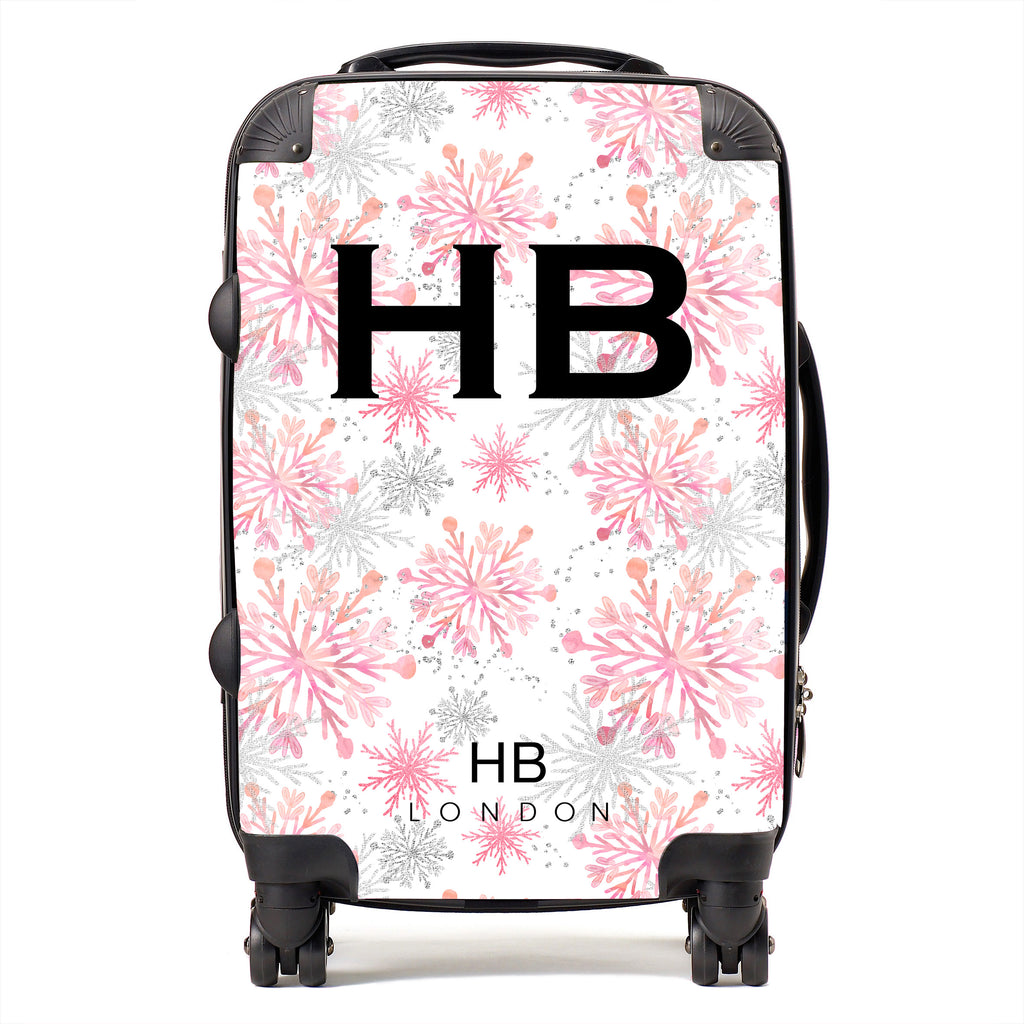 Personalised Pink and Silver Snowflake with Black Font Initial Suitcase