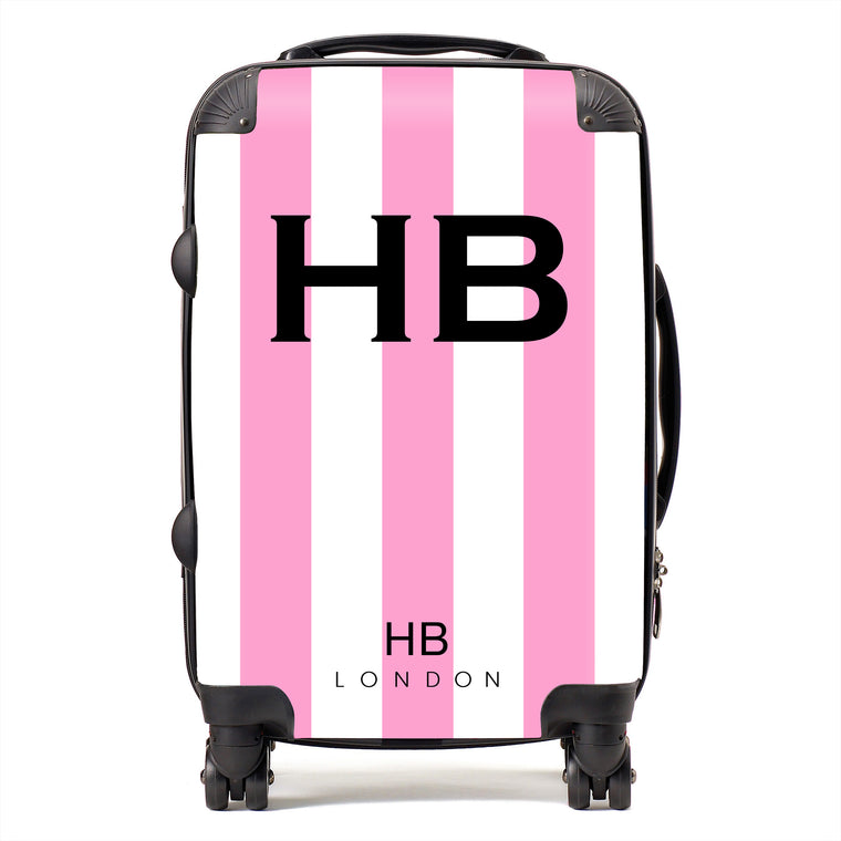 Personalised Pink and White Stripe with Black Font Initial Suitcase
