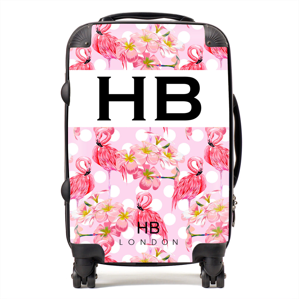 Personalised Polka Dot Flamingo Print Initial Suitcase