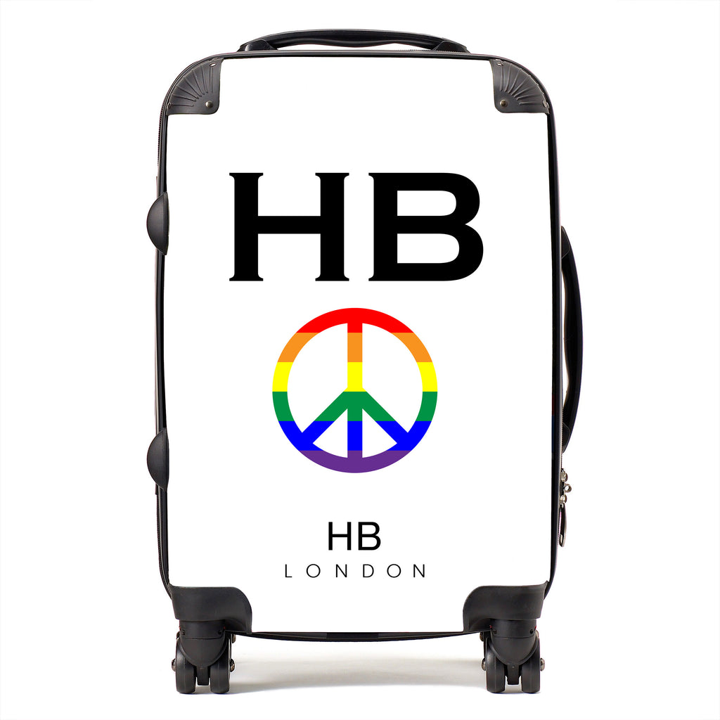 Personalised White Pride Peace with Black Font Initial Suitcase