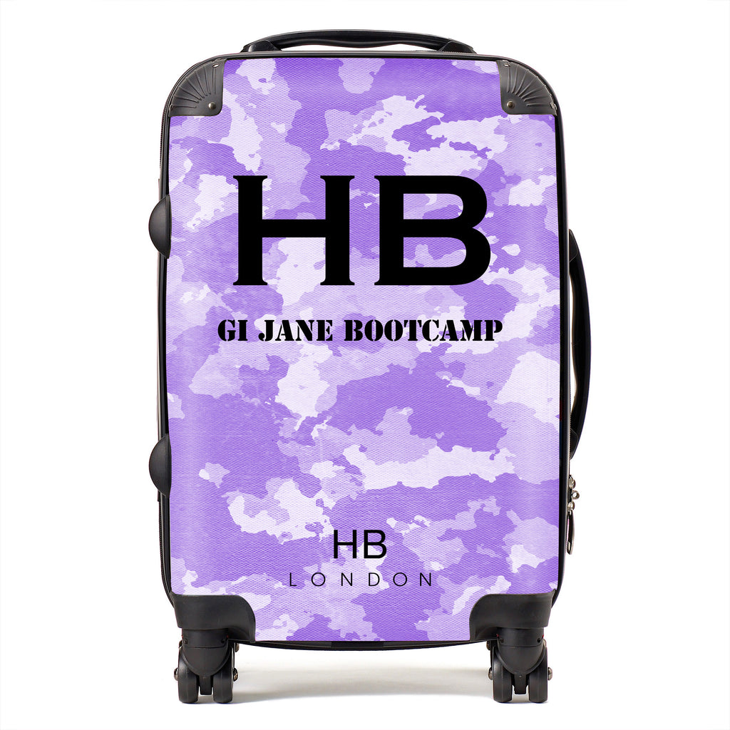 Personalised GI Jane Bootcamp Purple Camouflage with Black Font Initial Suitcase