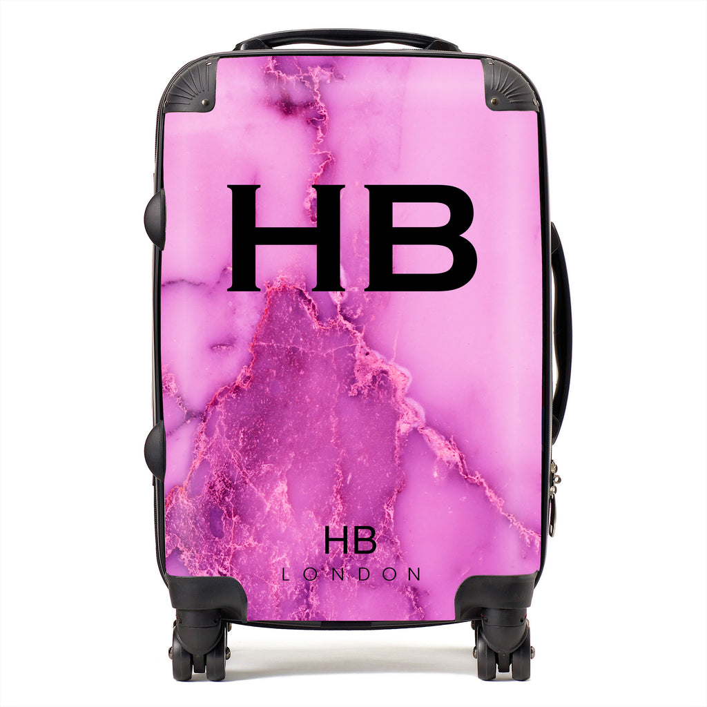 Personalised Purple Natural Marble with Black Font Initial Suitcase