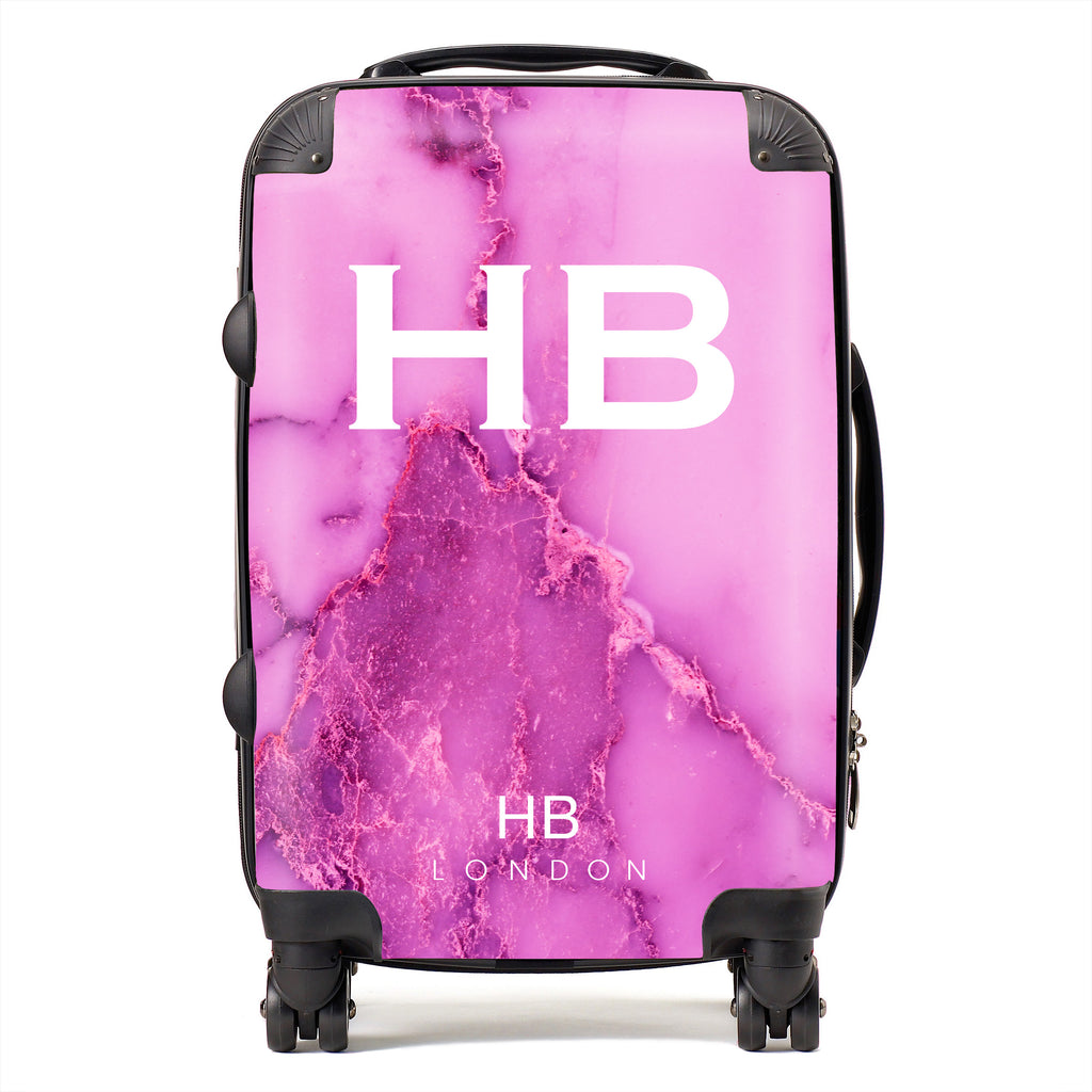 Personalised Purple Natural Marble with White Font Initial Suitcase
