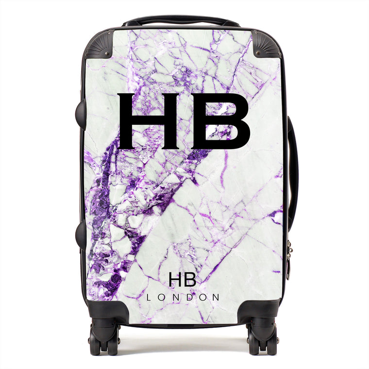 Personalised Purple Cracked Marble Initial Suitcase