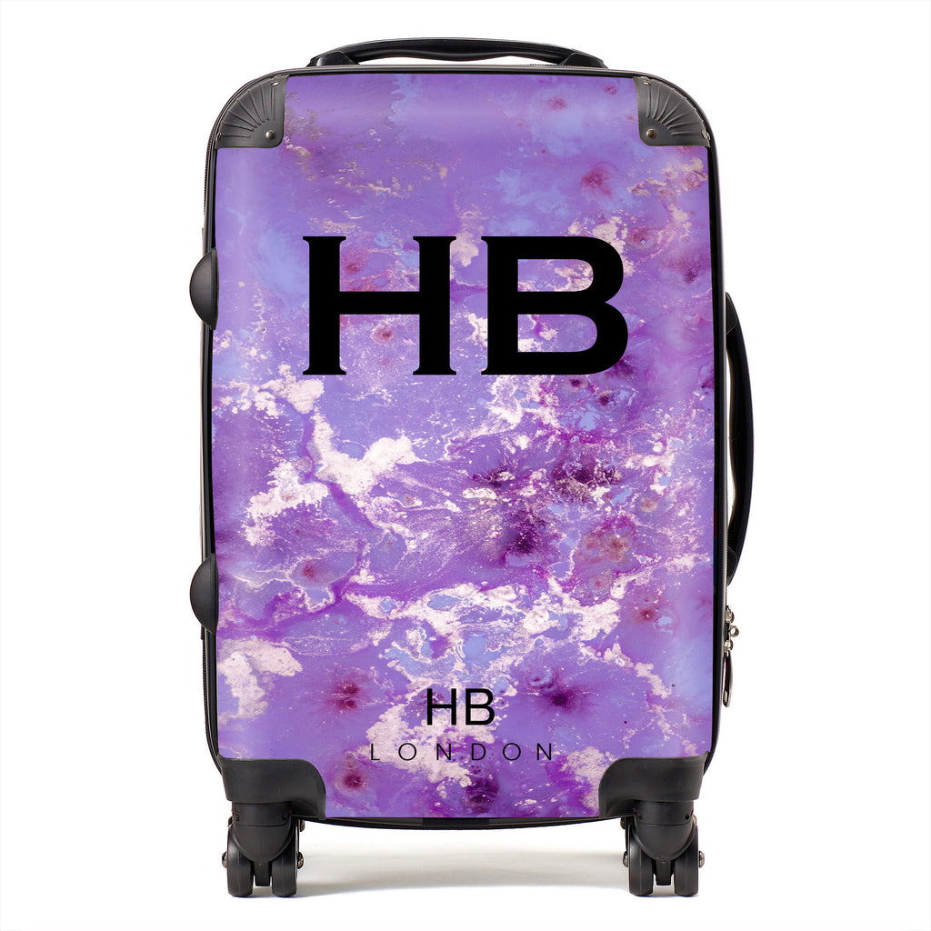 Personalised Purple and Off White Marble with Black Font Initial Suitcase