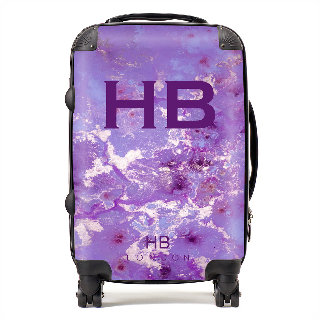 Personalised Purple and Off White Marble with Purple Font Initial Suitcase