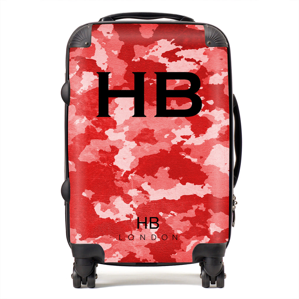 Personalised Red Camouflage with Black Font Initial Suitcase