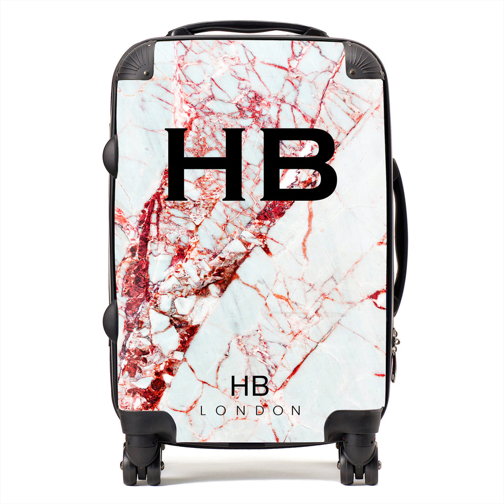 Personalised Red Cracked Marble Initial Suitcase