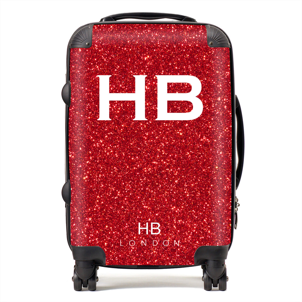Personalised Red Glitter Effect with White Font Initial Suitcase
