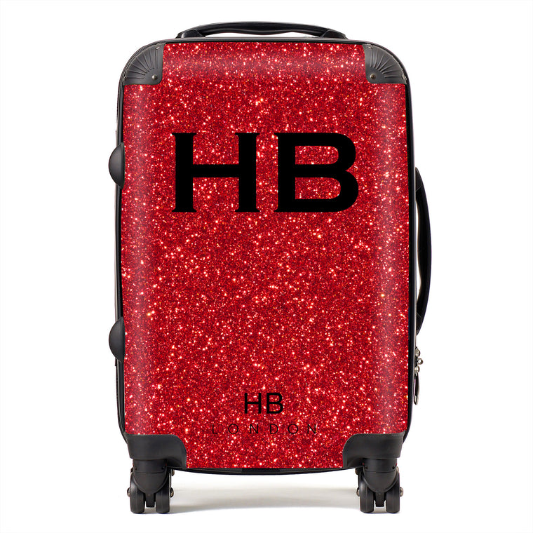 Personalised Red Glitter Effect with Black Font Initial Suitcase