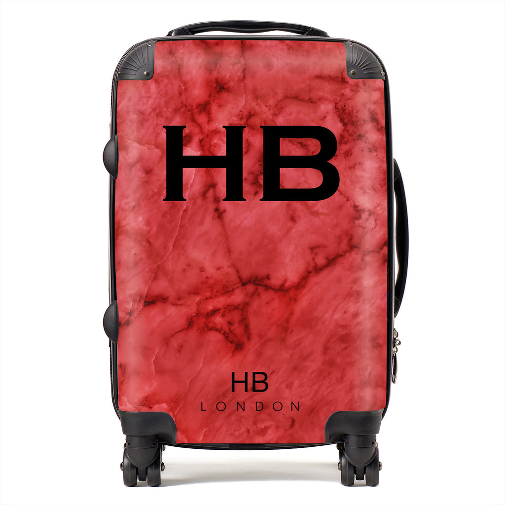 Personalised Red Marble With Black Font Initial Suitcase