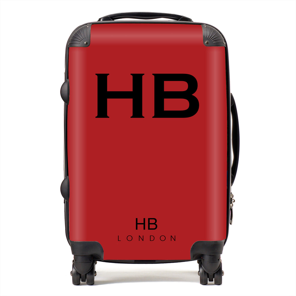 Personalised Red with Black Font Initial Suitcase
