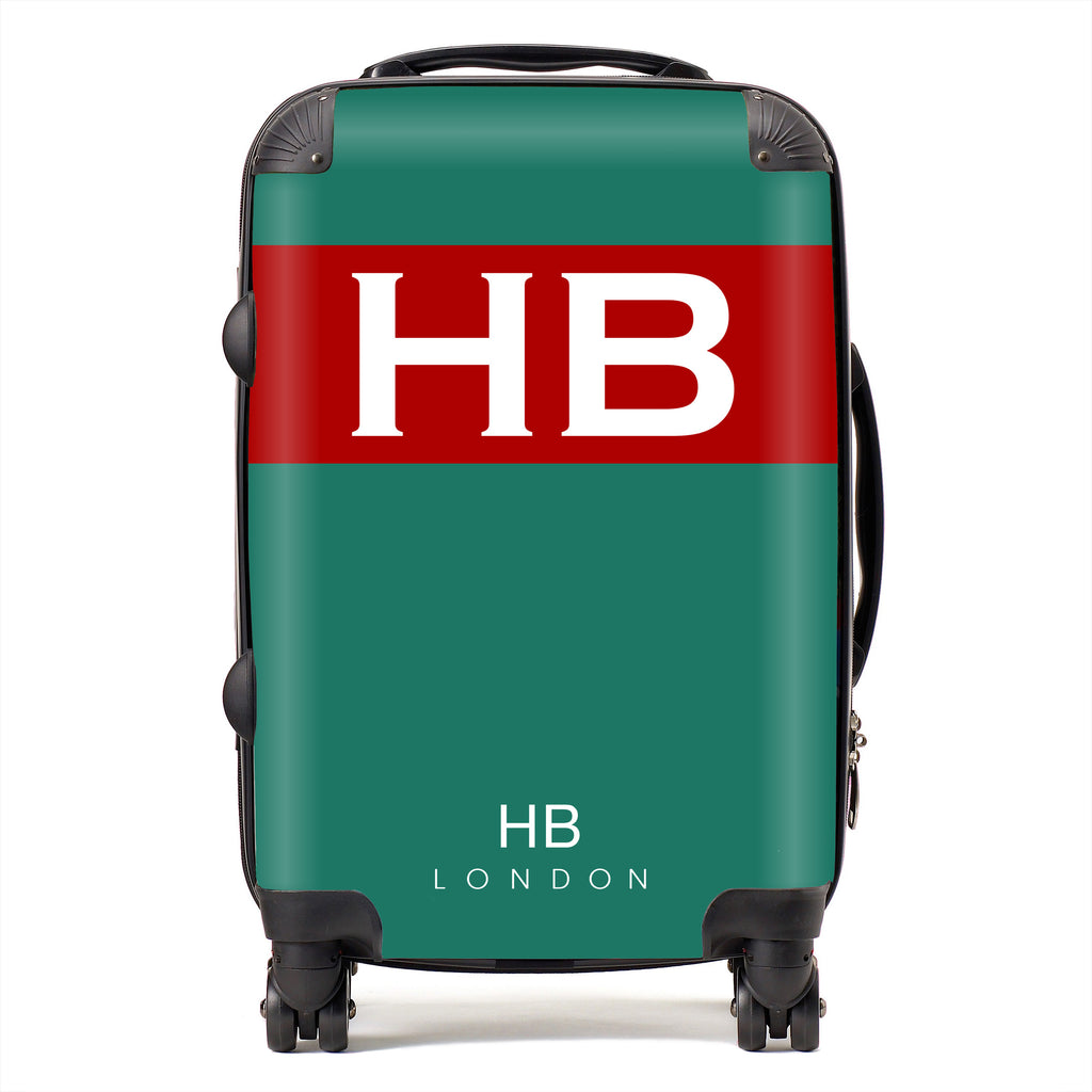 Personalised Green and Red with White Font Initial Suitcase