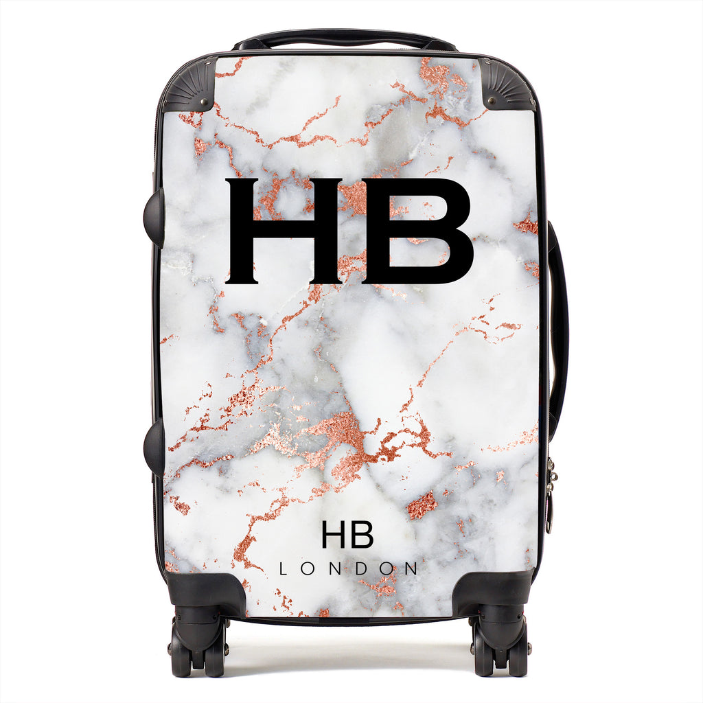 Personalised White and Rose Gold Foil Marble Initial Suitcase