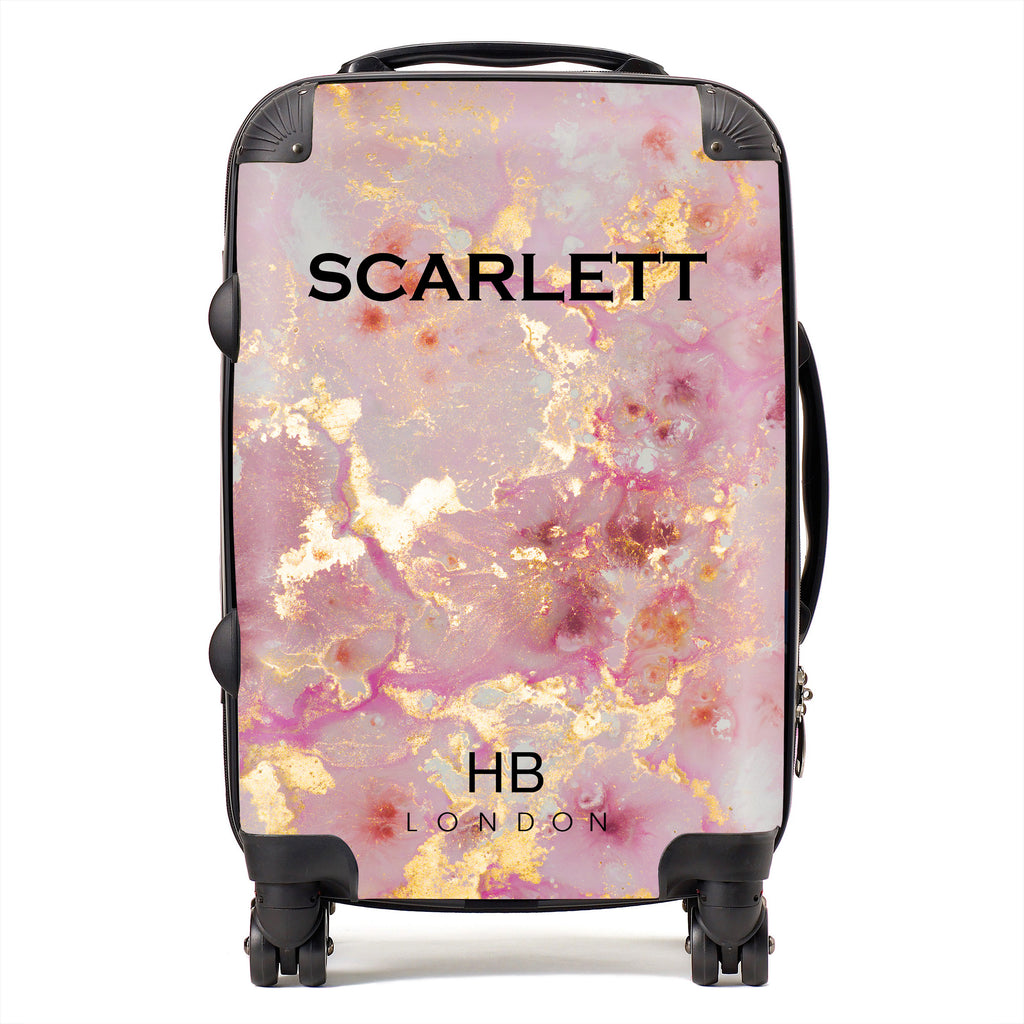 Personalised Pink and Gold Marble with Black Font Initial Suitcase