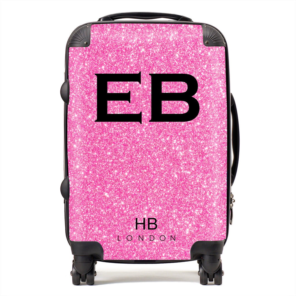 Personalised Spice Girl Pink Glitter Effect with Black Font Initial Suitcase
