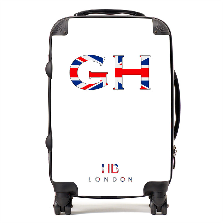 Personalised Spice Girl White with Union Jack Font Initial Suitcase
