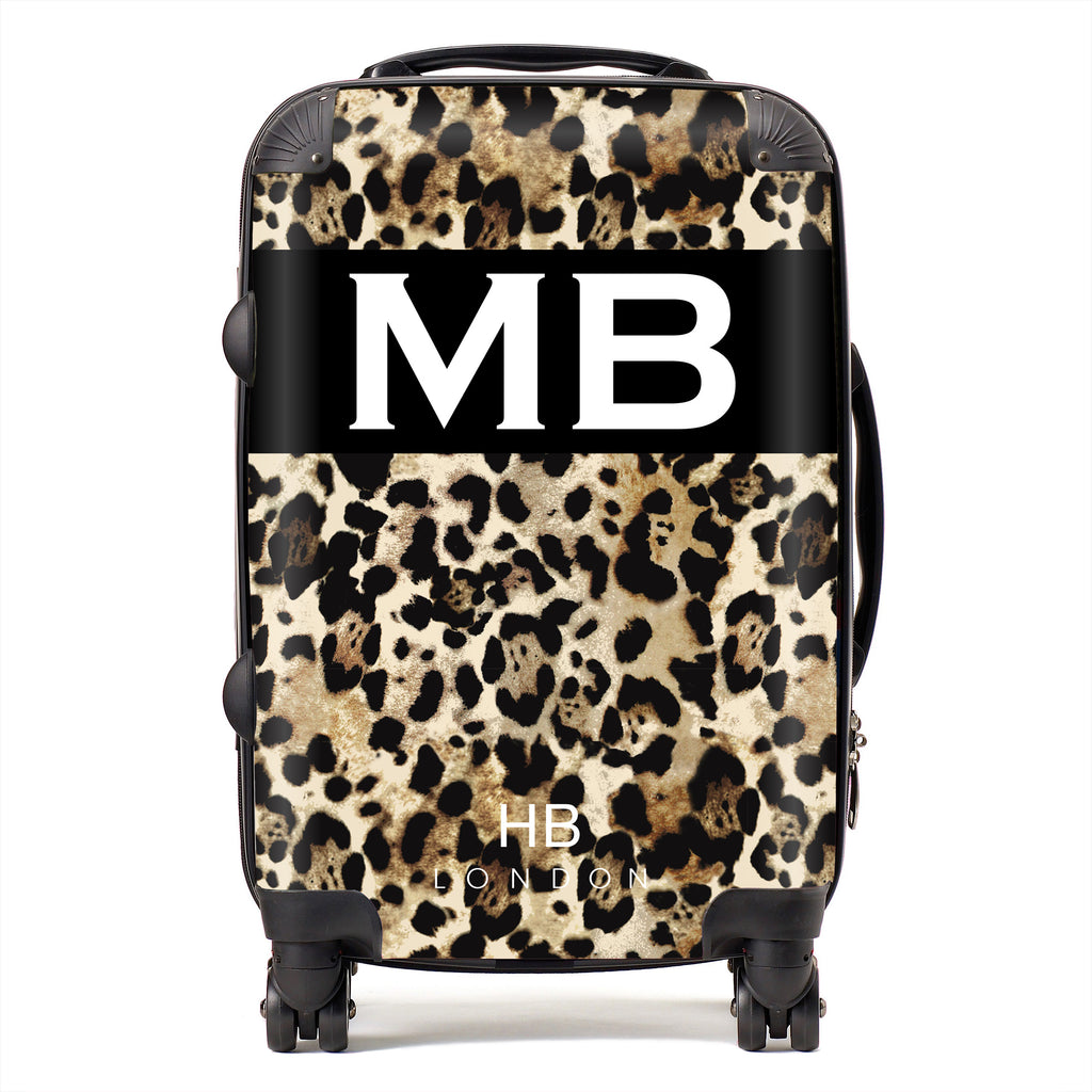 Personalised Spice Girl Leopard Print with White Font Initial Suitcase