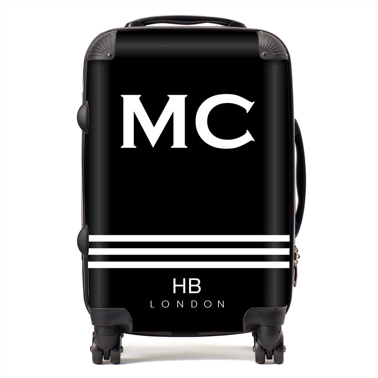 Personalised Spice Girl Black with White Stripes and White Font Initial Suitcase