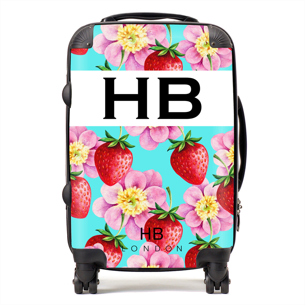 Personalised Strawberry Flowers Initial Suitcase