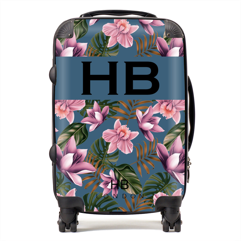 Personalised Teal and Mauve Tropical Flowers with Black Font Initial Suitcase