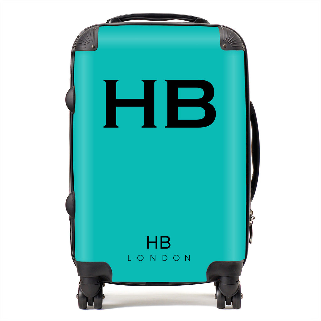 Personalised Tiffany Blue with Black Font Initial Suitcase