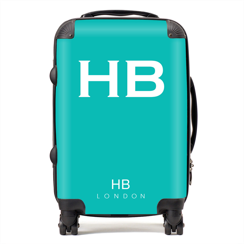 Personalised Tiffany Blue with White Font Initial Suitcase