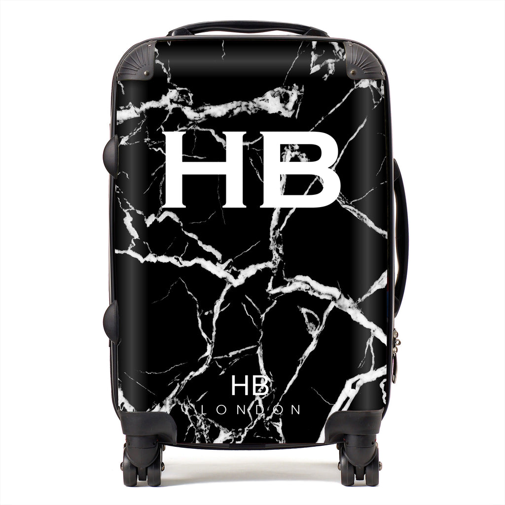 Personalised Black and White Marble Initial Suitcase
