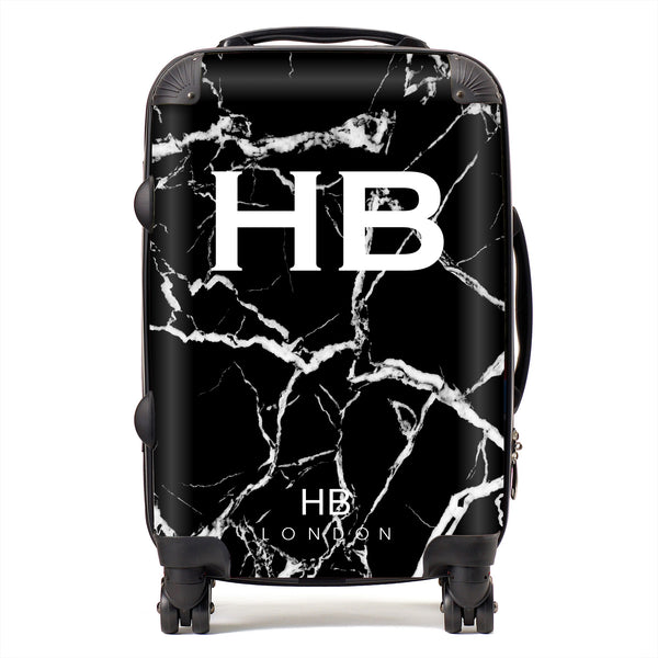 Personalised Black And White Marble Initial Suitcase Hb