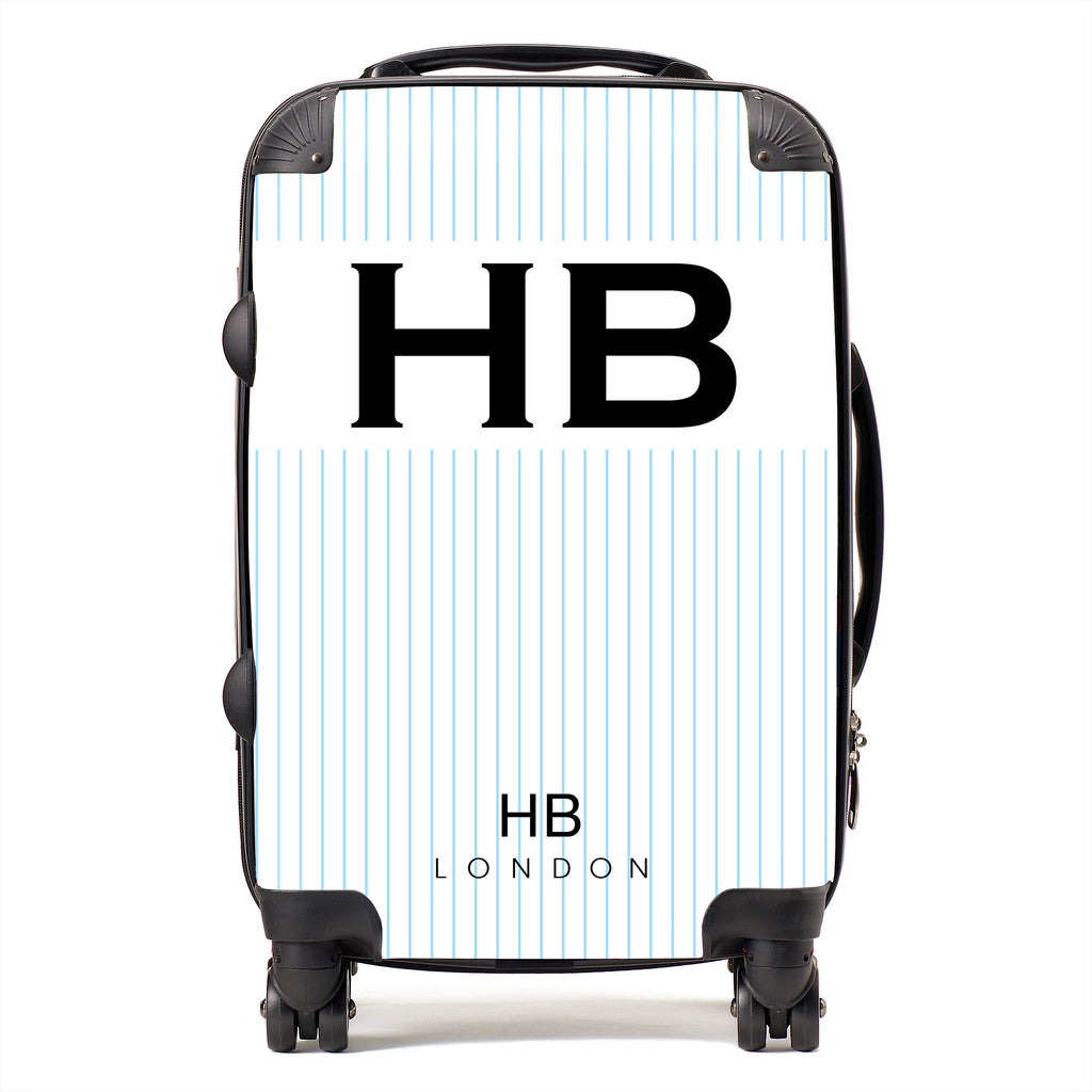 Personalised White and Blue Pinstripe with Black Font Initial Suitcase