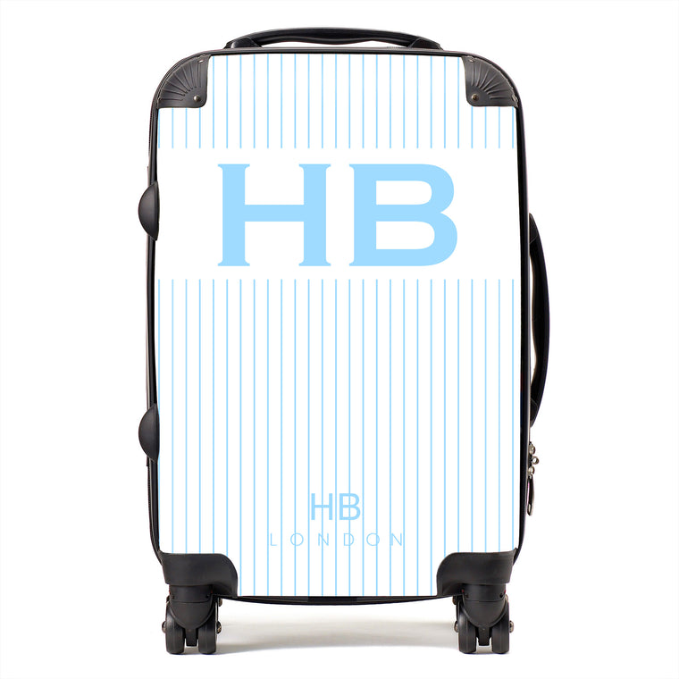 Personalised White and Blue Pinstripe with Blue Font Initial Suitcase