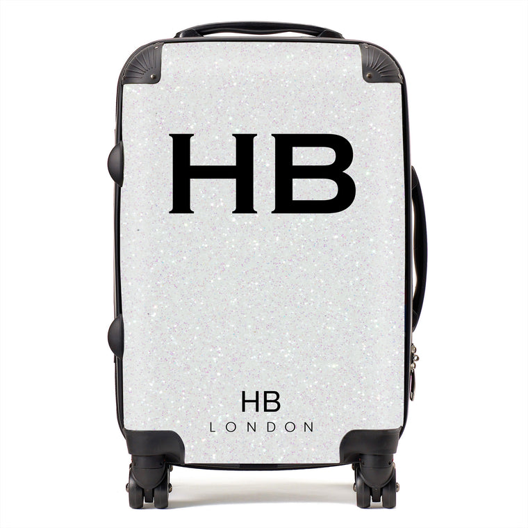 Personalised White Glitter Effect Initial Suitcase