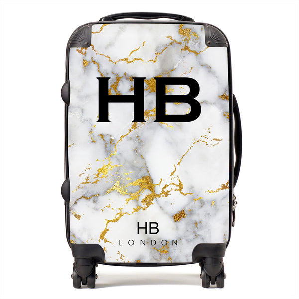 Personalised White And Gold Foil Marble Initial Suitcase
