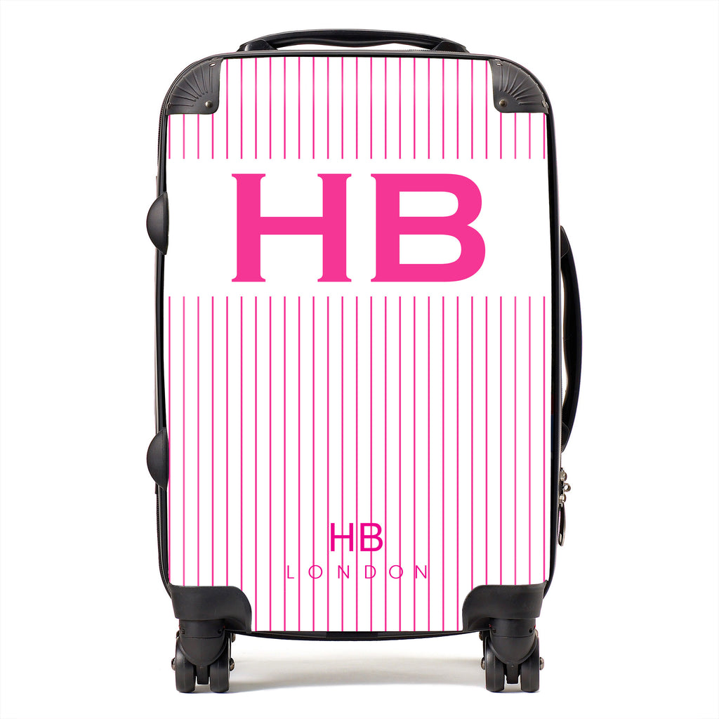Personalised White and Hot Pink Pinstripe with Hot Pink Font Initial Suitcase