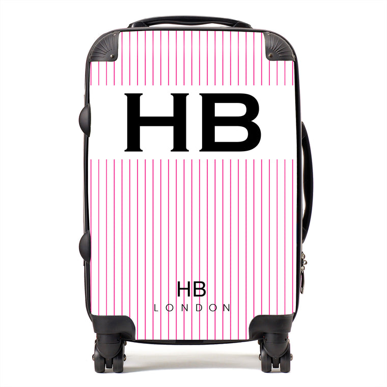 Personalised White and Hot Pink Pinstripe with Black Font Initial Suitcase