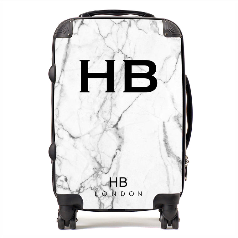 Personalised White Marble Initial Suitcase
