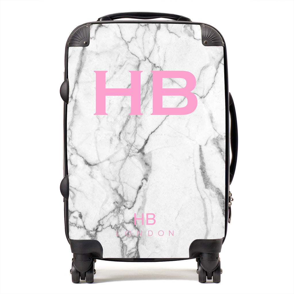 Personalised White Marble with Pink Font Initial Suitcase