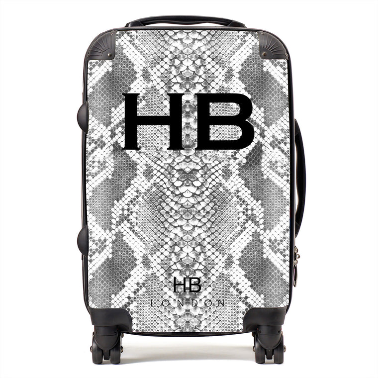 Personalised White Snake Skin Print with Black Font Initial Suitcase