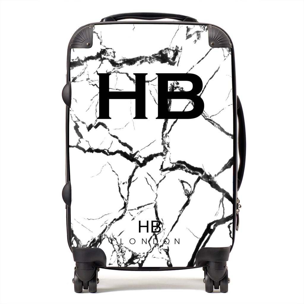 Personalised White and Black Marble Initial Suitcase