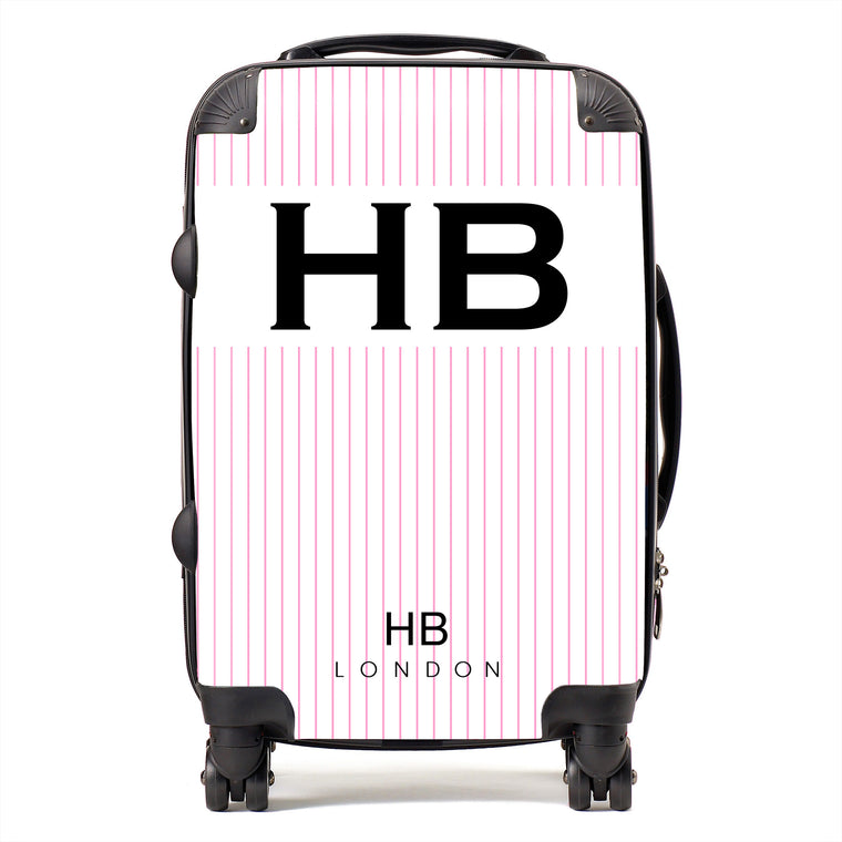 Personalised White and Pink Pinstripe with Black Font Initial Suitcase