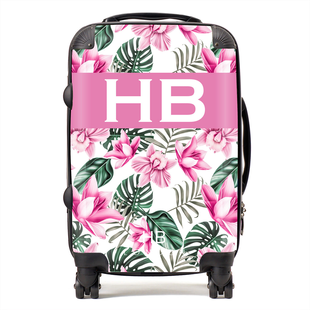 Personalised White and Pink Tropical Flowers with White Font Initial Suitcase