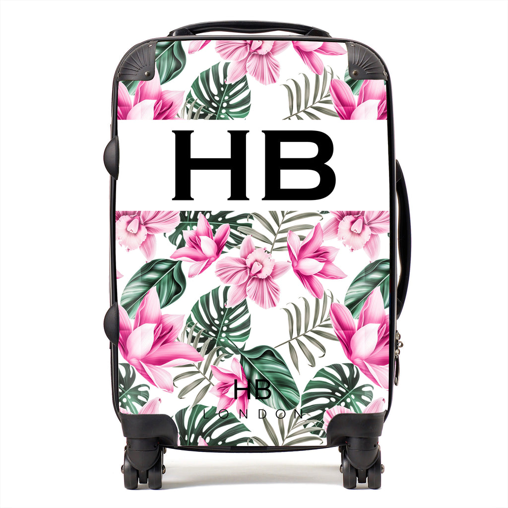 Personalised White and Pink Tropical Flowers with Black Font Initial Suitcase
