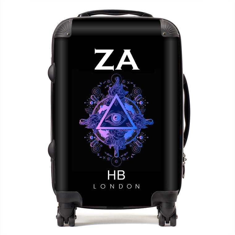 Personalised All Seeing Eye with White Font Initial Suitcase