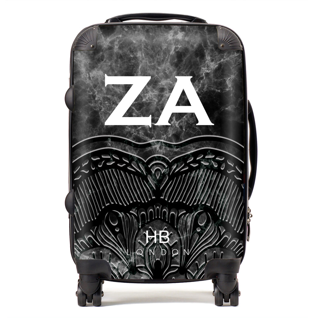 Personalised Black Angel Marble with White Font Initial Suitcase