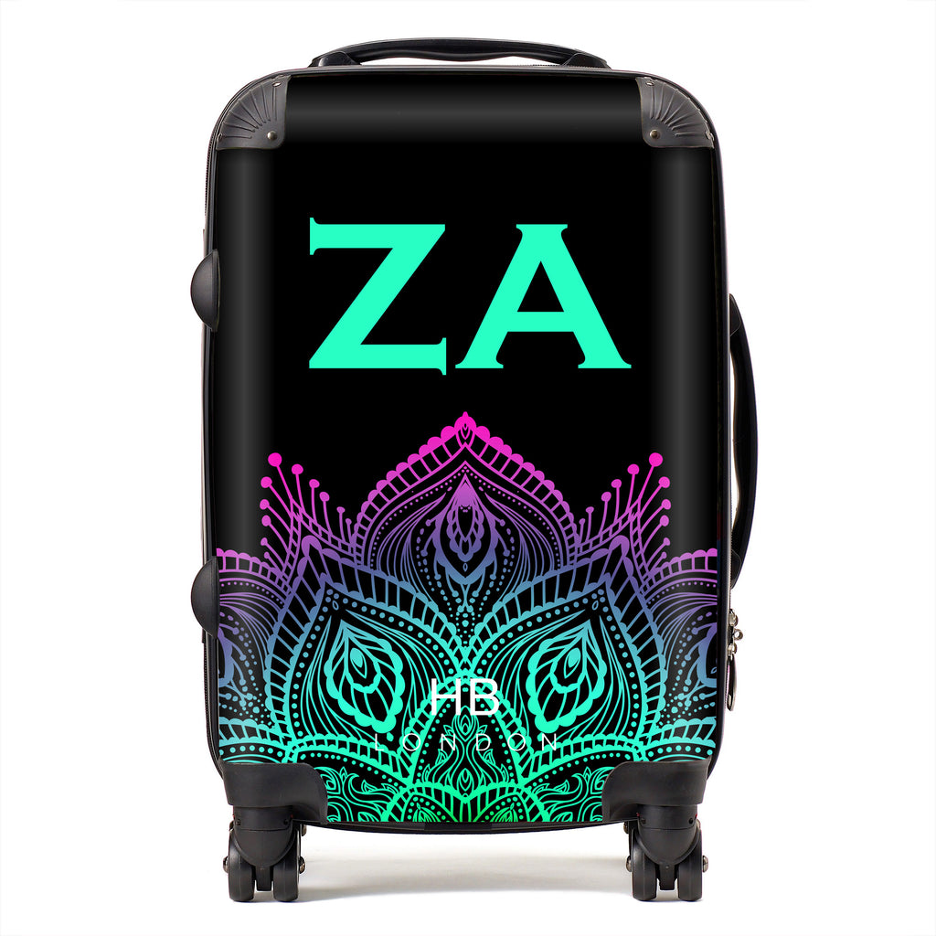 Personalised Neon Henna with Mint Font Initial Suitcase