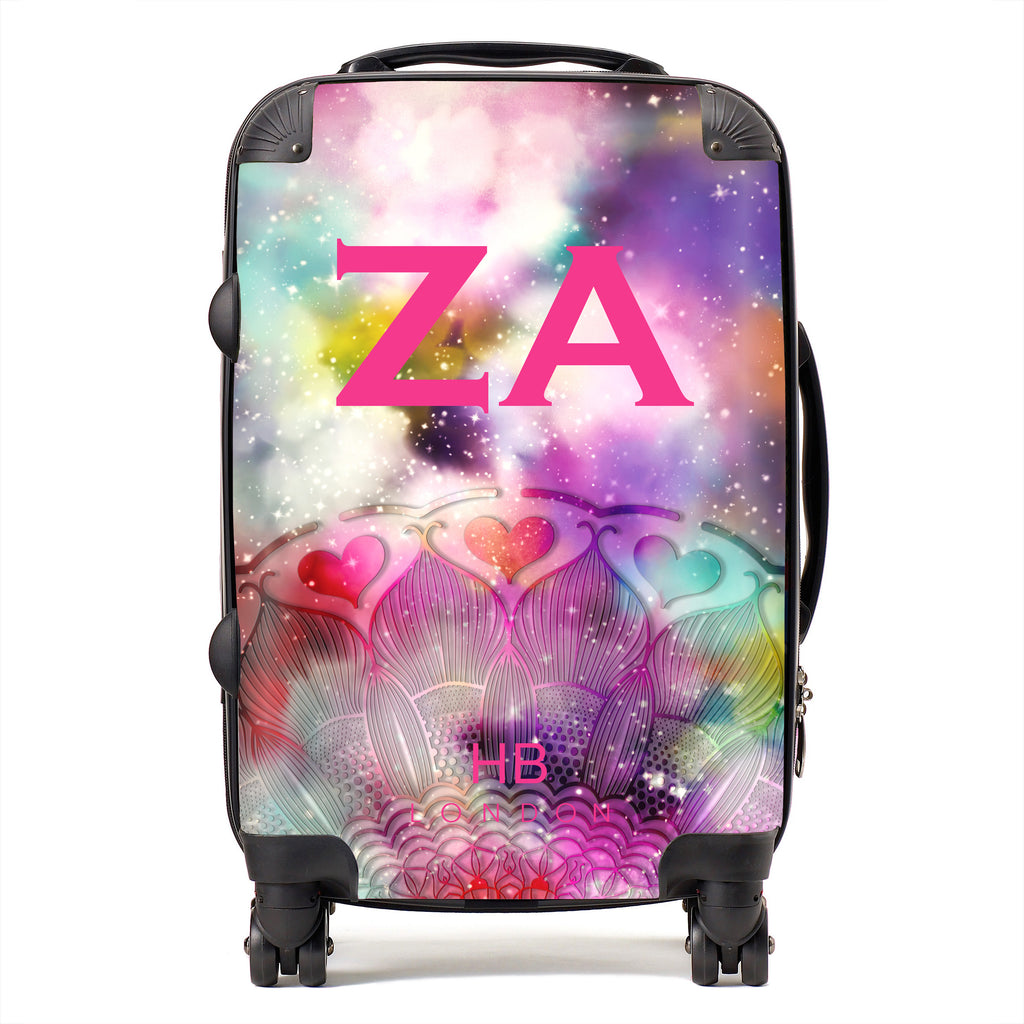 Personalised Galaxy Fantasy with Pink Font Initial Suitcase