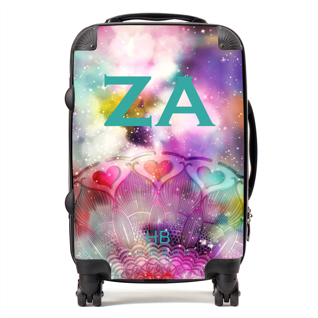 Personalised Galaxy Fantasy with Teal Font Initial Suitcase