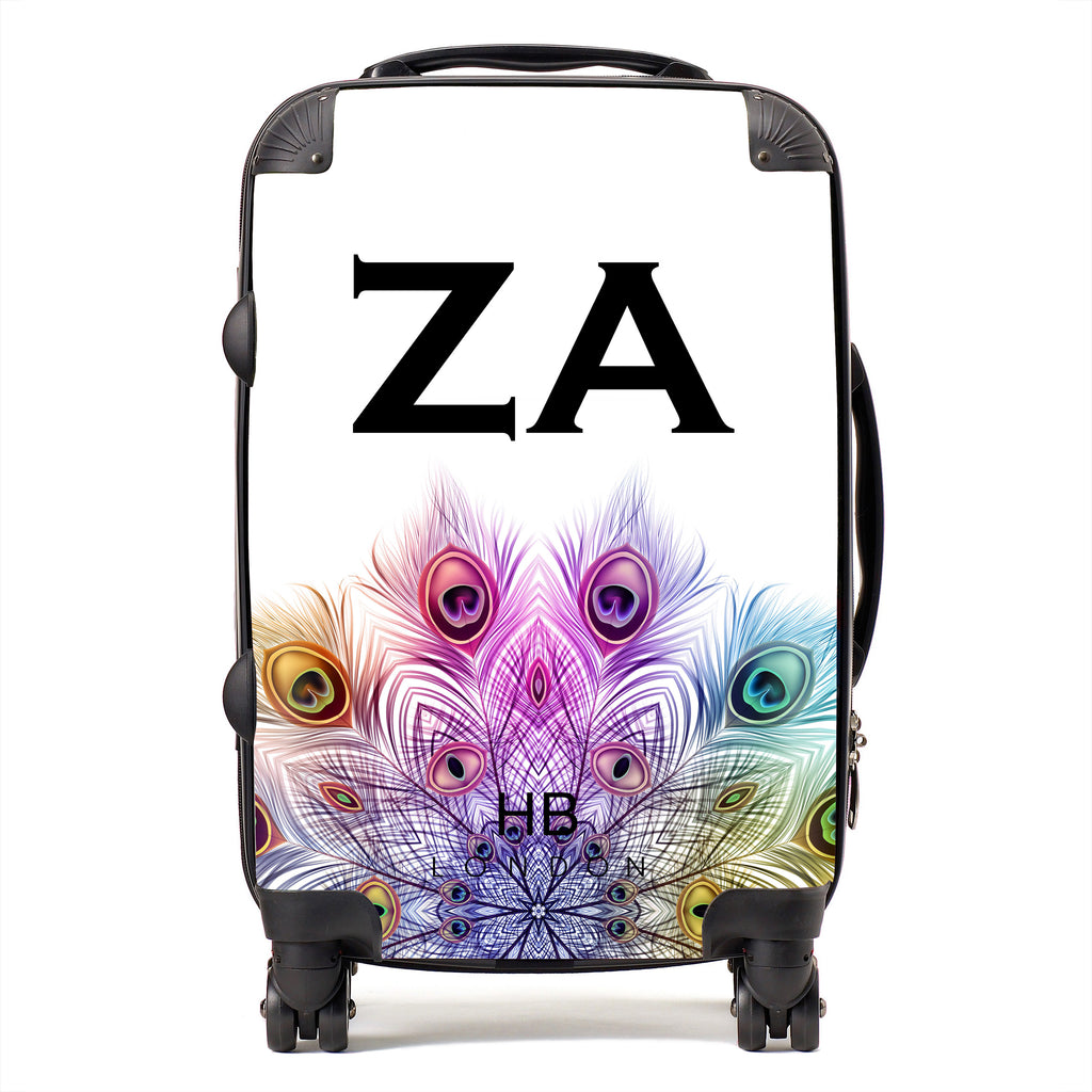 Personalised Peacock Mandala with Black Font Initial Suitcase